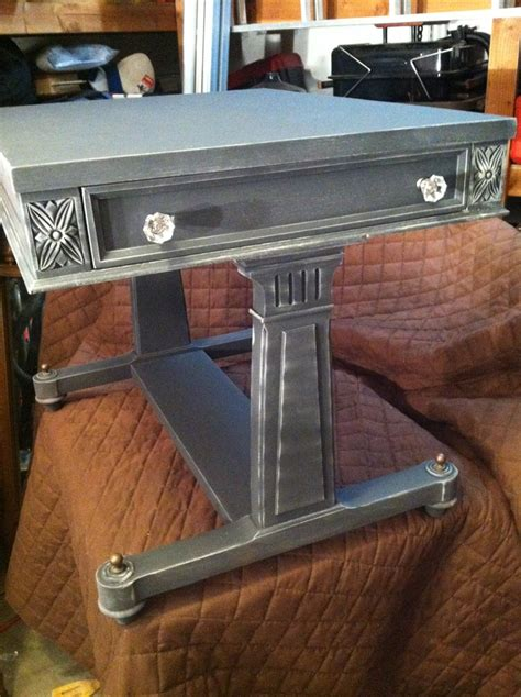 Graphite And Linen Ascp Accent End Table For