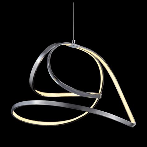 Pendant Led Lighting Mimax Shine 5 Ribbon Led Pendant Light In Satin Nickel