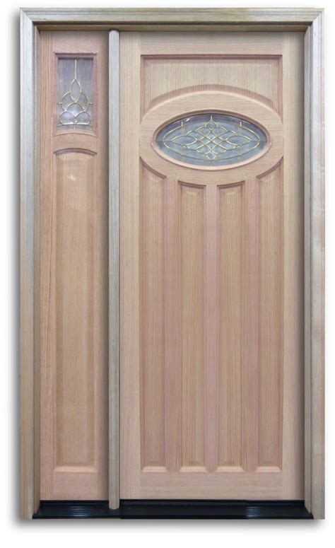 Pre Hung Oak Exterior Door Top Oval With Brass Caming Pre Hung Front Doors