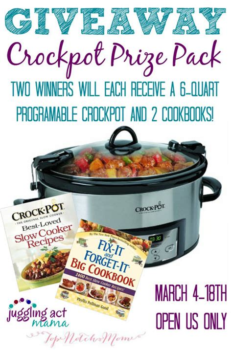Crock Pot Giveaway - crock pot prize pack giveaway onecreativemommy com