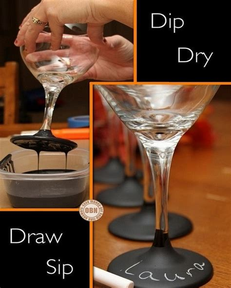 chalkboard painting glass diy chalkboard paint dipped wine glasses