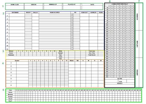 scorecard template free charming cricket score sheet template images exle