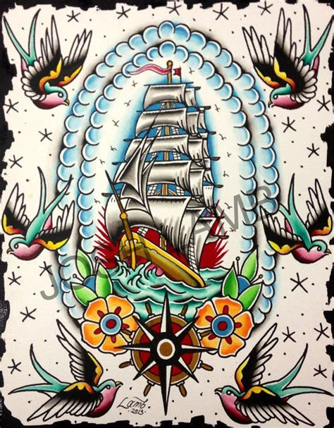 watercolor tattoo flash out to sea traditional flash painting original