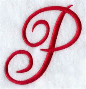 Designs at embroidery library monogram script letter p 4 inch