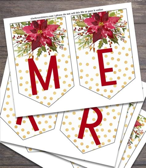 Printable Christmas Banner Six Clever Sisters Merry Letter Banner Template