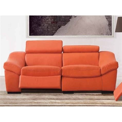 orange leather loveseat esf style leather reclining loveseat in orange 80212