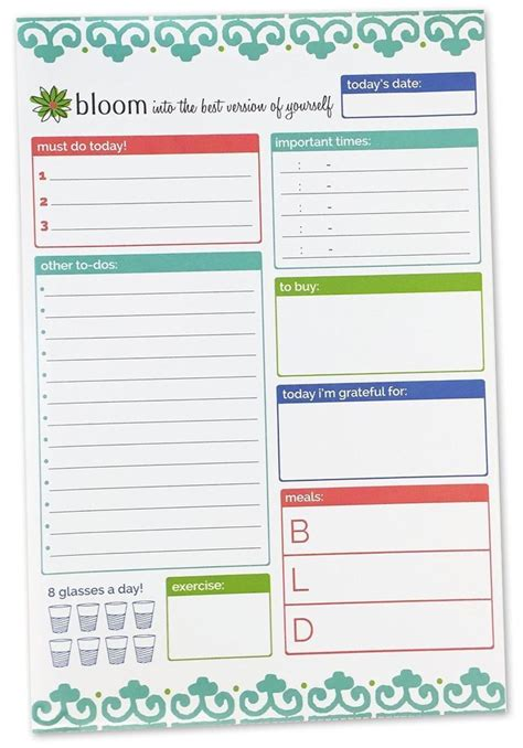 free printable planner pad bloom daily planners planning system tear off to do pad