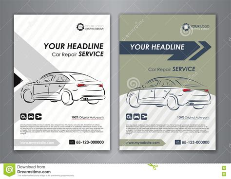 Car Service Post Card Template by A5 A4 Set Car Repair Service Business Card Templates