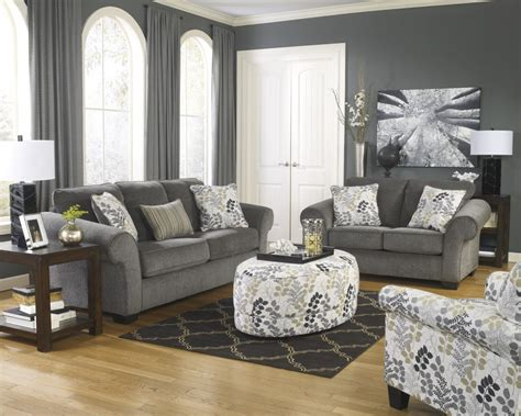 Living Room With Charcoal Sofa by Makonnen Charcoal Living Room Set Ogle Furniture