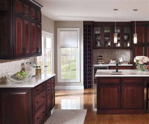 wood and glass kitchen cabinets dark cherry kitchen with glass cabinet doors decora