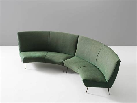 Curved Modular Sofa Italian Green Curved Modular Sofa With Brass Legs For Sale At 1stdibs