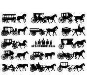 Horse Drawn Carriage Silhouettes Vectors Free  Download