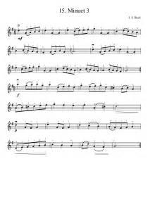 Suzuki Violin Minuet 3 Bach Minuet 3 Tin Whistle Violin Sheet