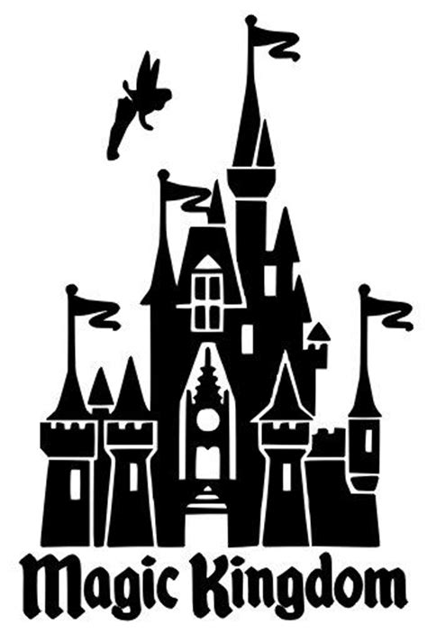 Disney World Castle Outline by Magic Kingdom Cinderella S Castle With Tinkerbell By Budafuldesign 6 00 Disney Silhouettes