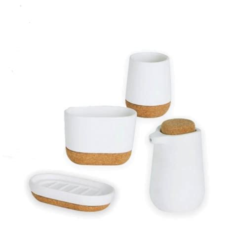umbra bathroom accessories umbra kera bathroom collection white cork black by design