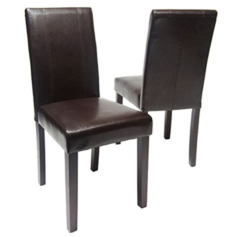 brown wood dining room chairs roundhill furniture style solid wood leatherette