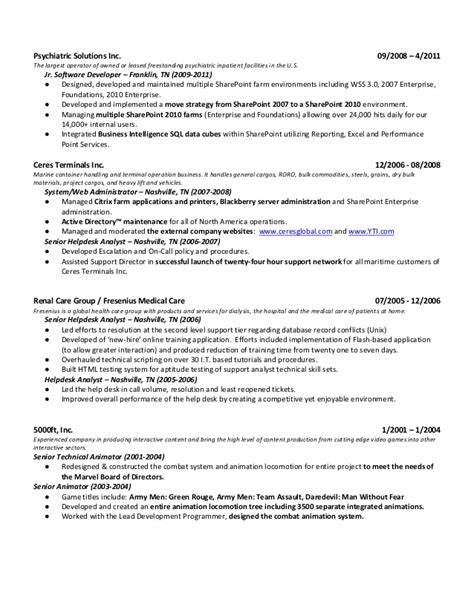 Entry Level Sharepoint Developer Sle Resume Sharepoint Resume Resume Format Pdf