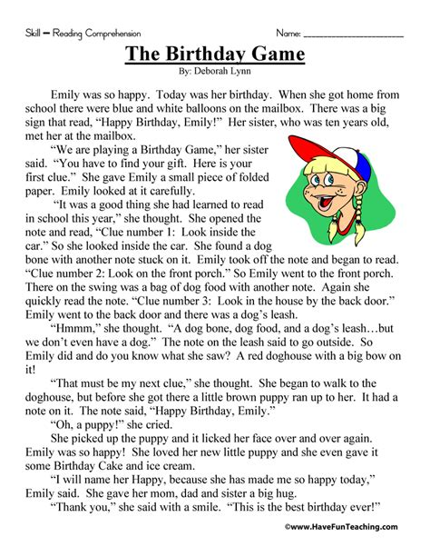 the birthday game reading comprehension worksheet