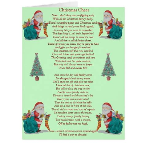 christmas tree card poem children poem santa and tree big card card zazzle