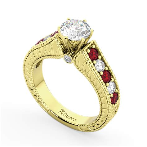 Ruby 6 35ct vintage ruby engagement ring 18k yellow gold 1