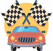Clipart  Car And Racing Flags Icon