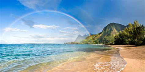 beach rainbows sea mountain trees sand hawaii