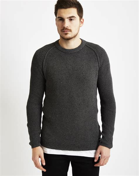 grey knitted jumper mens only sons mens knitted crew neck jumper grey in gray for