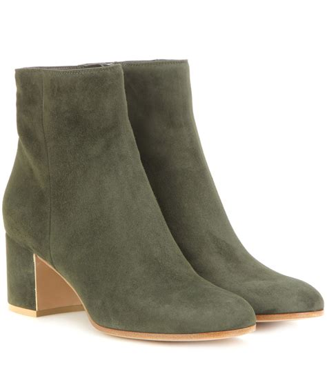 gianvito margaux suede ankle boots in green lyst