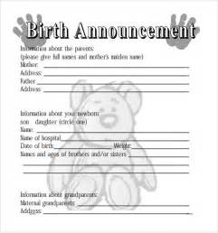 Announcement Template by Sle Birth Announcement 7 Documents In Pdf