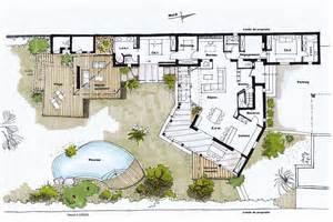 plan d une moderne avec piscine interieure le