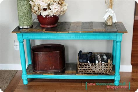 Distressed Entry Table Distressed Front Entry Table With Reclaimed Wood Tops Tutorial From Shannon Makes Stuff Things