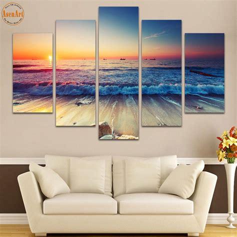 panel wall art seaside landscape painting sunset