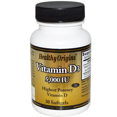Vitamin D3 healthy origins vitamin d3 5 000 iu 30 softgels iherb