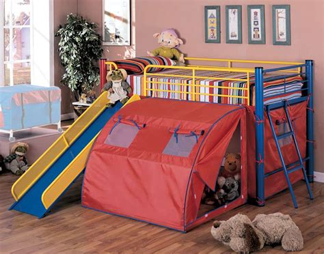 Bunk Beds With Tents And Slides Coaster Oates Bunk Bed With Slide And Tent 7239 Homelement
