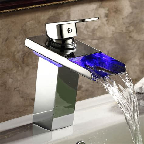 Led Faucet 7 Inch Chrome Led Vessel Sink Waterfall Faucet Ls6