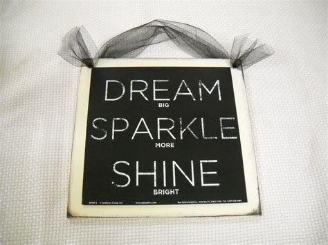 dream sparkle shine wooden wall art sign teen girls