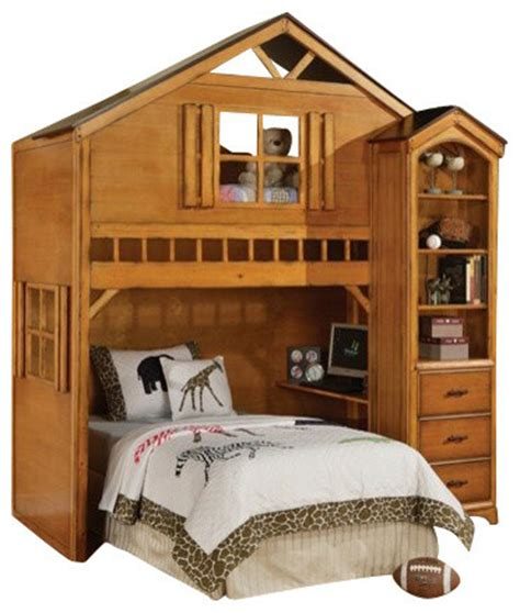 tree house style rustic oak finish wood loft bed bunk
