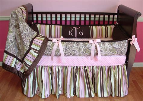 Kelley Paisley Pink Brown Green Crib Bedding 128 00 Paisley Baby Bedding Sets