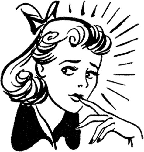 retro drawing retro nervous lady image the graphics fairy