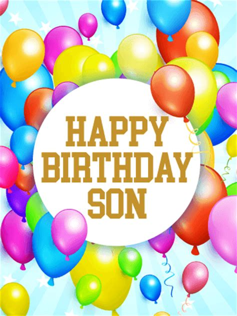 rainbow birthday balloon card  son birthday