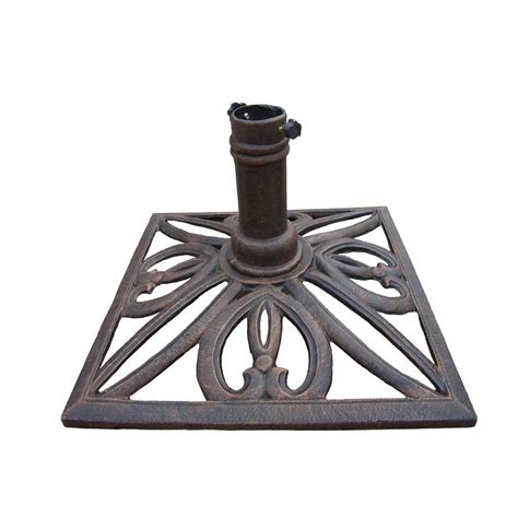 Patio Umbrella Stand Oakland Living Square Patio Umbrella Stand In Antique Bronze 4102 Ab The Home Depot