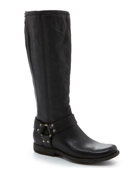 frye boots wide calf frye phillip harness wide calf boots in black lyst