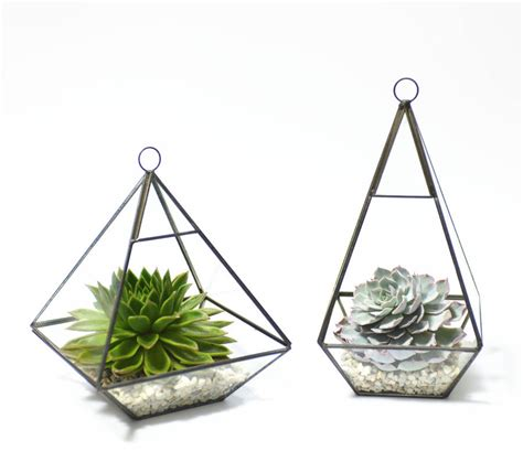 Diy Wedding Vases Geometric Pyramid Glass Vase Succulent Terrarium By