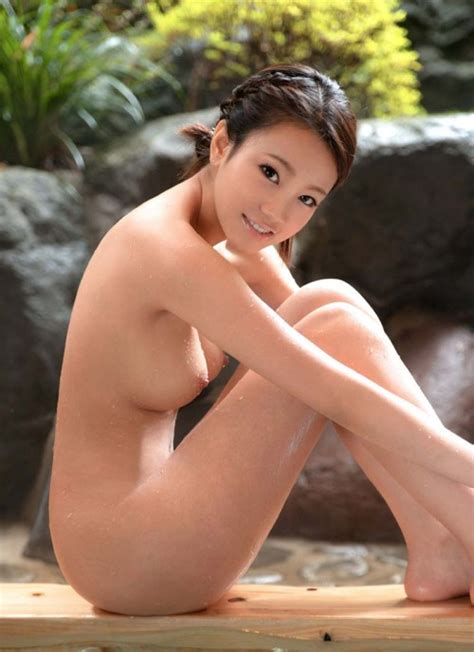 Cute Nude Asian Woman Sitting Beside Pool At Onsen