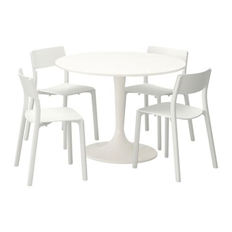 docksta janinge table and 4 chairs white white 105 cm ikea