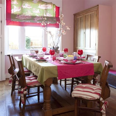 pink and lime dining room colourful dining room