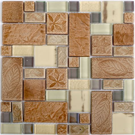 patterned mirror tiles beige glass tile kitchen backplash leaf pattern ceramic