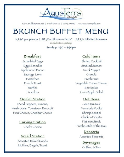 breakfast buffet menu aquaterra grille in pearl river launches brunch buffet
