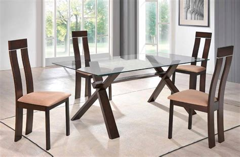 glass and wood dining table set sophisticated rectangular in wood clear glass top dining