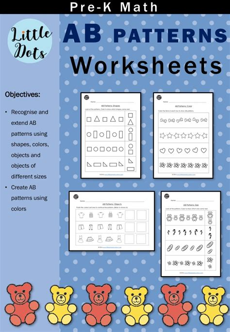 pre k math patterns prekinders pre k math ab patterns worksheets and activities little
